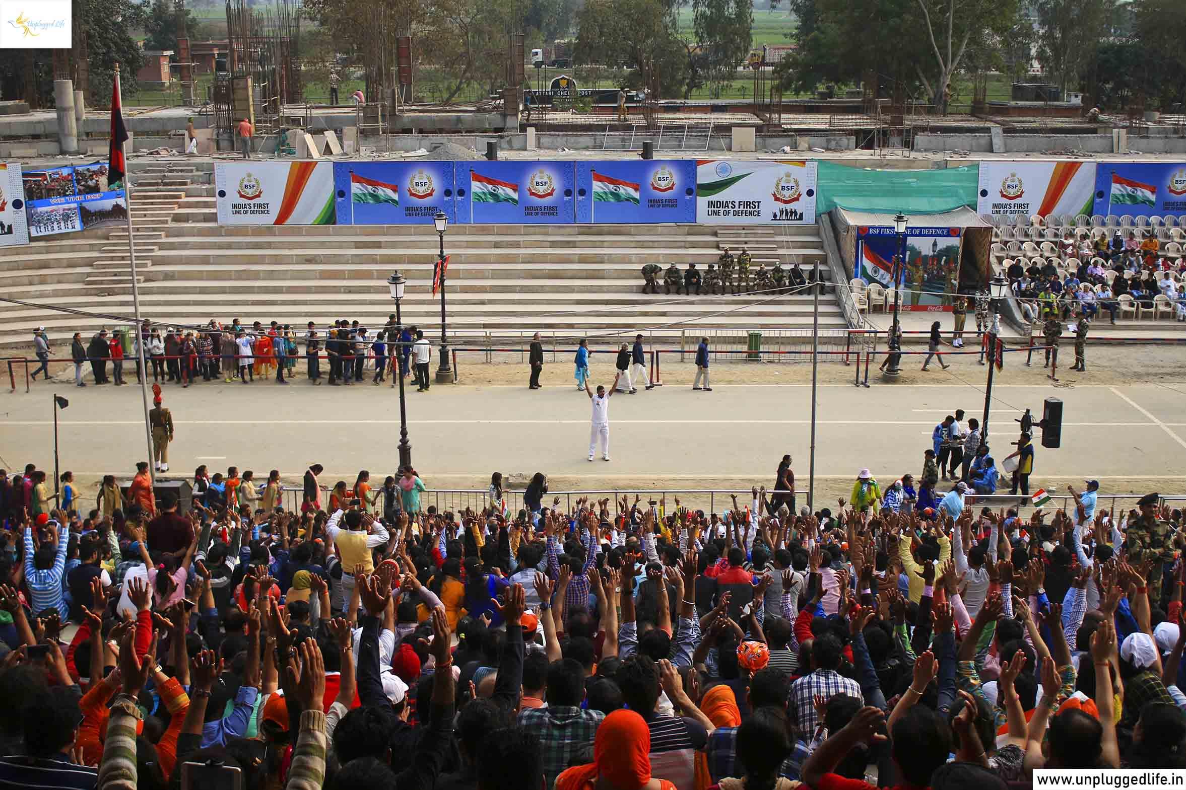 Attari - Wagah Border, India and Pakistan, Unplugged Life, Punjab, Amritsar, Indian Army, pride, cheering, full stadium, Amritsar Tour Package, Punjab Tour Package, Dharamshala Itinerary, Himachal Pradesh Itinerary, Amritsar to Dalhousie, Amritsar to Dharamshala, Dharamshala to Dalhousie,