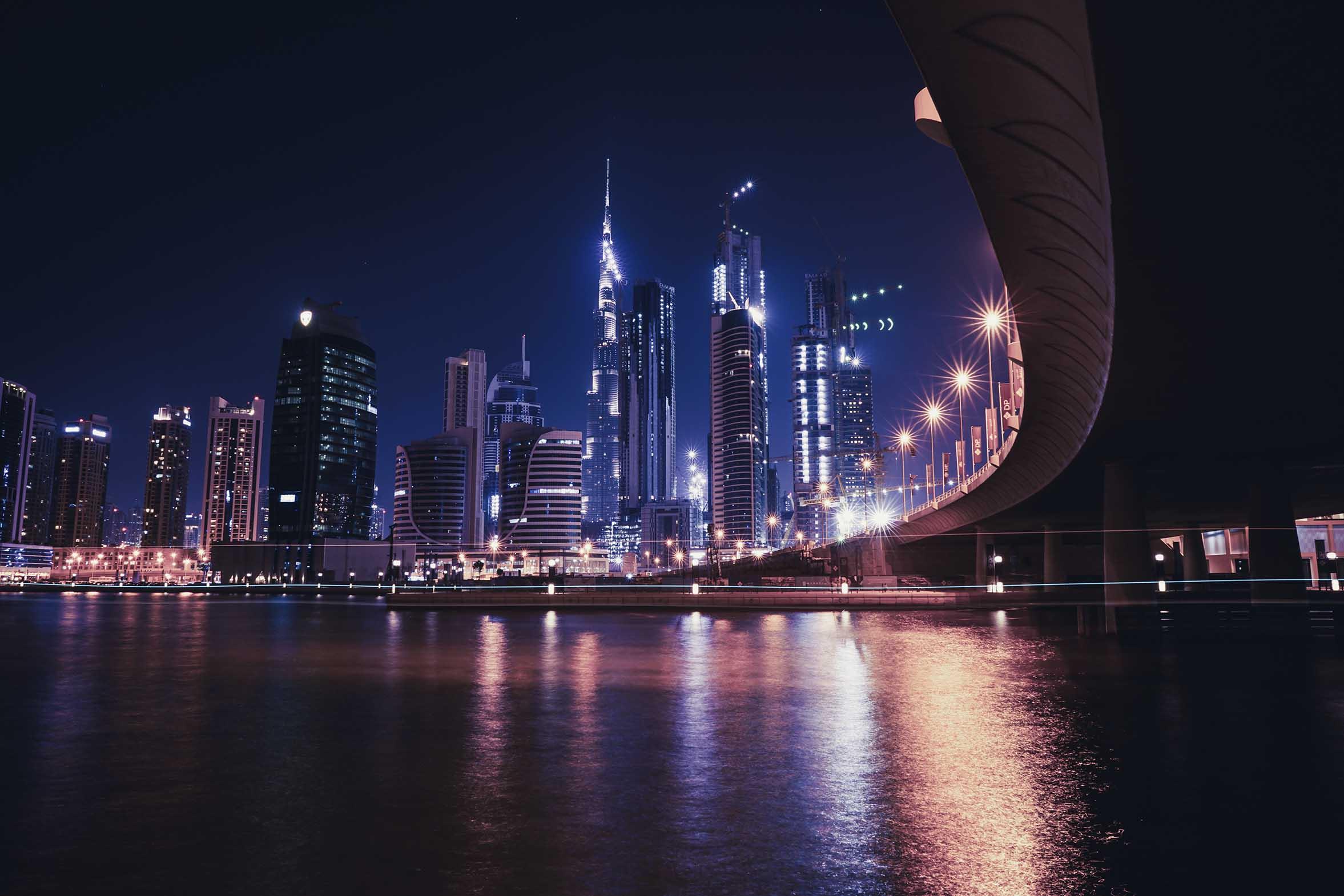 Dubai in UAE, United Arab Emirates, Nighview, Long Exposure